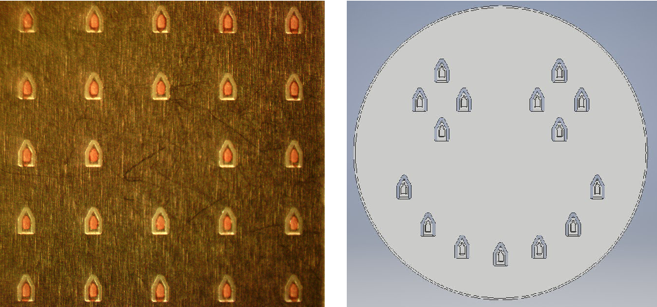 Figure 1a and 1b.  5 x 5 -1 microarray and a happy face array.